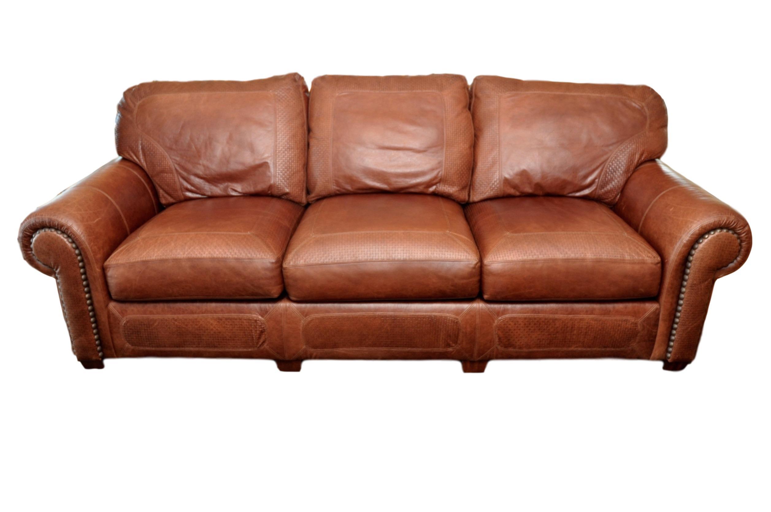 Stickley Cibola Internationale Santa Fe Style Leather Sofa For Sale