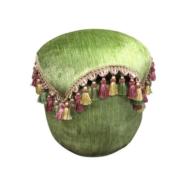 Green Velvet Tassel Ottoman For Sale