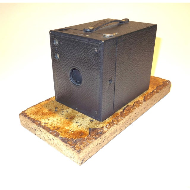 Proposed for your approval is this Kodak Smaller Brownie Box Camera on Travertine Base. Circa early 20th century and in...