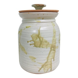 Modern Studio Pottery Contemporary Glazed Lidded Crock Canister For Sale