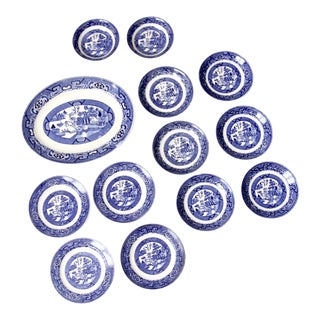 Home Laughlin Blue Willow Ware Dishes - Set of 13 For Sale