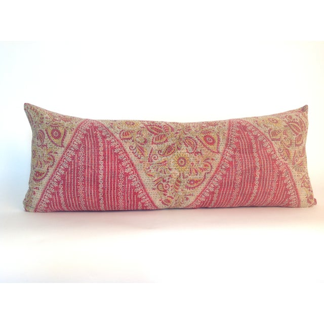 A vintage block printed quilt pillow with natural linen back and hidden zipper. Inserts included.