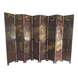Red Chinese Coromandel 8-Panel Screen For Sale