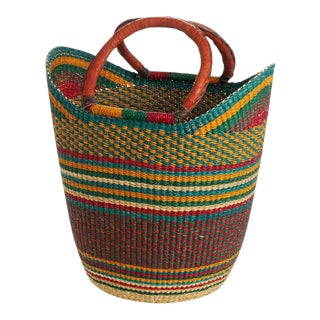 Yikene Bolga Ghana Orange Woven Shopping Basket For Sale