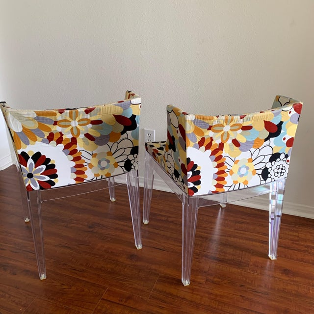 Missoni Kartell Phillipe Starck Missoni Fabric Mademoiselle Chairs - a Pair For Sale - Image 4 of 9