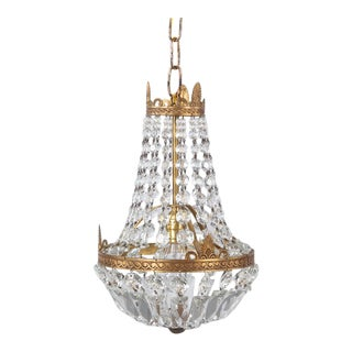 """1920s French Empire Style Crystal and Brass """"Montgolfier"""" Pendant For Sale"""