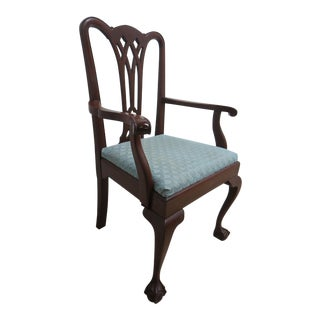 Antique Chippendale Ball and Claw Solid Mahogany Dining Room Arm Chair