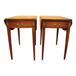 Hickory Chair Co. Mahogany Pembroke End Tables With Drop Leaves - a Pair For Sale
