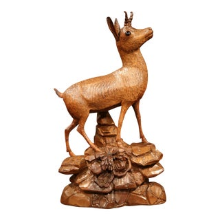 19th Century Swiss Carved Walnut Black Forest Deer Sculpture with Glass Eyes
