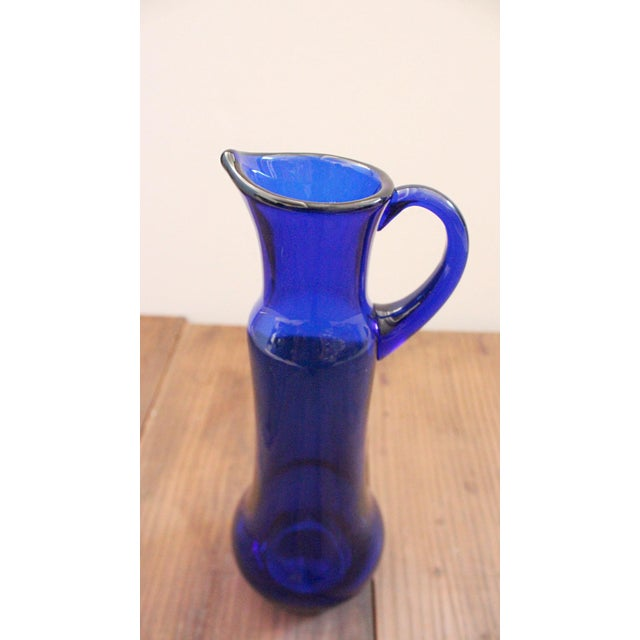 Glass Mid 20th Century Vintage Cobalt Blue Art Glass Pitcher Attributed to Wayne Husted of Blenko For Sale - Image 7 of 8