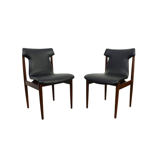 Set of Four Rosewood Dining Chairs model 'IK', in rosewood and faux-leather, designed by Inger Klingenberg for...