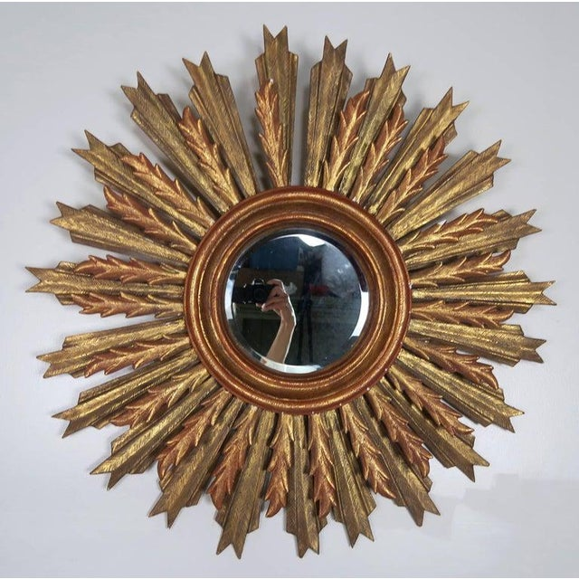 Gold Spanish Carved Sunburst Mirror, Circa 1930 For Sale - Image 8 of 13