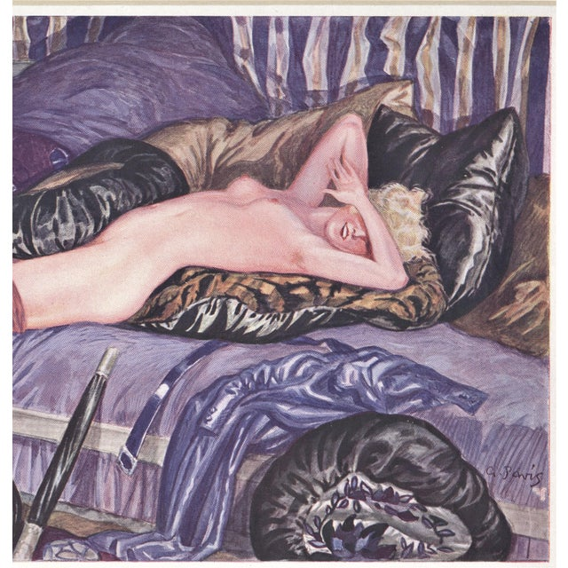 Matted Art Deco Lithograph Reclining Nude on Pillows For Sale - Image 4 of 6