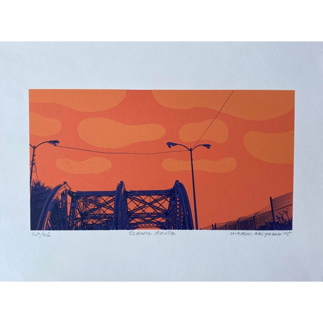 """Contemporary """"Scenic Route"""" Contemporary Serigraph by Hiroshi Ariyama For Sale - Image 3 of 3"""