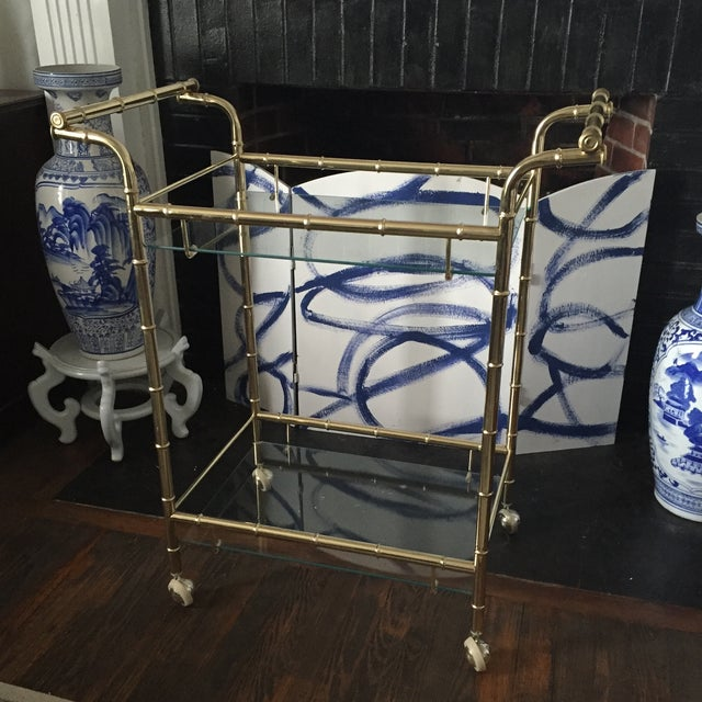 Hollywood Regency Brass Faux Bamboo & Glass Rolling Bar Cart - Image 7 of 11