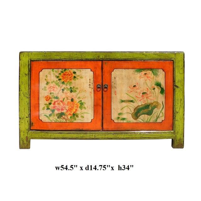 Lime Green & Orange Flower Side Table or Cabinet - Image 6 of 6