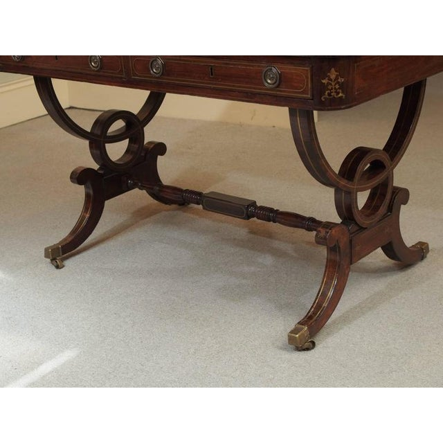Rosewood Antique English Regency Rosewood Writing Table, Saber Legs, Brass Inlay For Sale - Image 7 of 10