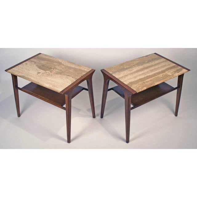 White John Van Koert Walnut and Travertine Side Tables for Drexel For Sale - Image 8 of 10