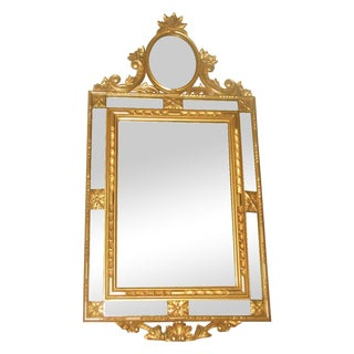 Vintage Paneled Italian Gilt Mirror For Sale