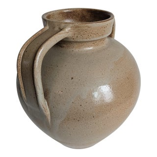 Vintage 1970s Rustic French Glazed Terracotta Confit Pot Vase For Sale