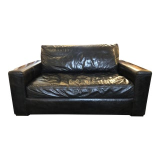 Contemporary Restoration Hardware Leather Maxwell Loveseat For Sale