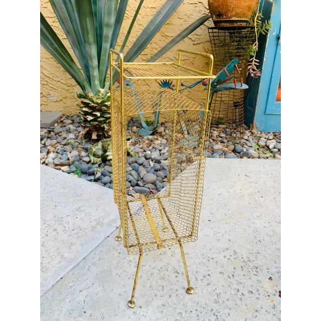 Metal Atomic Modern Mid Century Modern Brass Phone Stand 1950s Googie Gold Retro Telephone Table Duchin Galef Style For Sale - Image 7 of 9