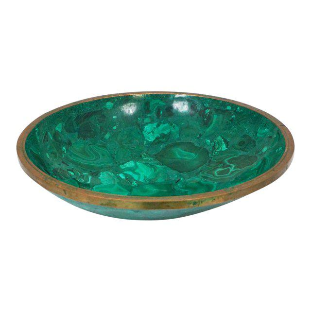 Bronze Large Malachite Bowl For Sale - Image 7 of 7