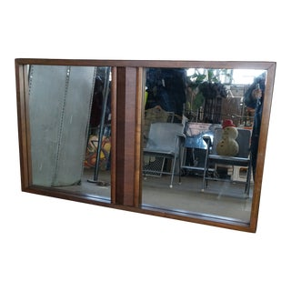 Brutalist Walnut Frame Double Mirror For Sale