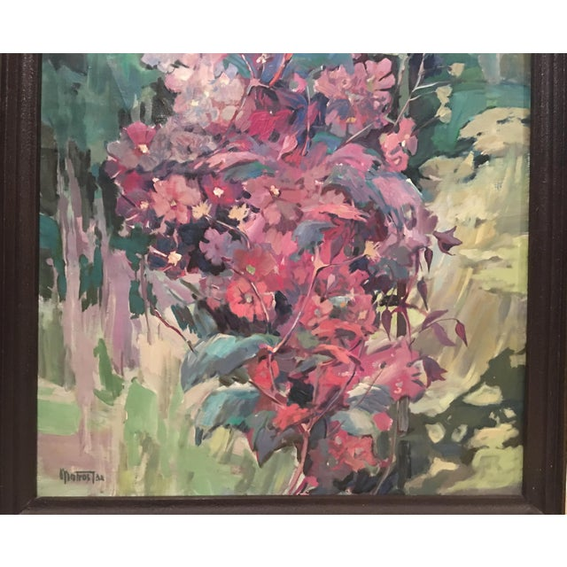 """Clematis"" Flowers Original Oil Painting by Jan Matras For Sale - Image 10 of 11"