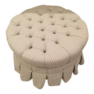 Ethan Allen Round Plaid Fabric Tufted Upholstered Ottoman