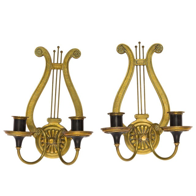 Brass Lyre Sconces - a Pair For Sale In New York - Image 6 of 6