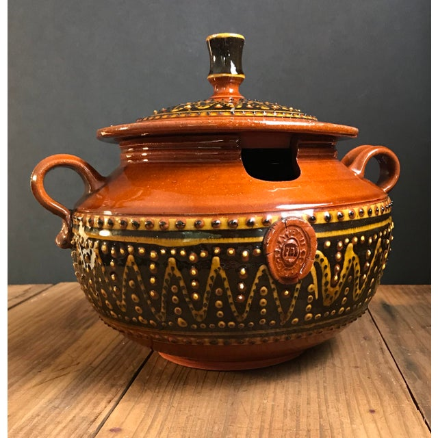 Terra Cotta Fey Pottery Platteville Colorado Red Terra Cotta Clay Patterned Serving Bowl With Lid For Sale - Image 8 of 8