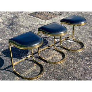 1980s Vintage Brass Cantilever Cal-Style Bar Stools - Set of 3 Preview