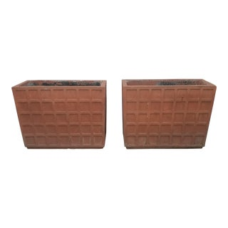 Terracotta Italian Rectangular Planters - a Pair