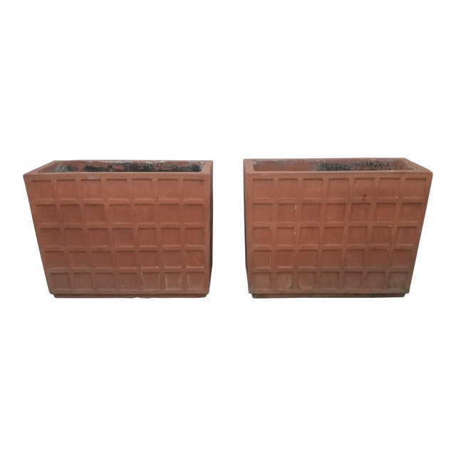 Terracotta Italian Rectangular Planters - a Pair For Sale