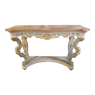 Early 20th Century Scandinavian Carved and Parcel-Gilt Console For Sale