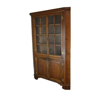 Antique American Solid Walnut Chippendale Style Corner Cabinet For Sale