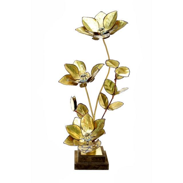 Maison Jansen French 3 Light Cut Brass Flower Table Lamp on a brown velvet covered base. Uses 3 Light Bulb with max. 40...