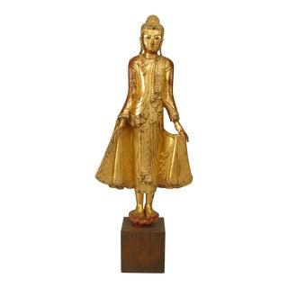 Asian Thai Style Gilt Life Size Standing Buddha Figure