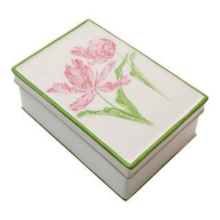 1970s Mottahedeh Art Nouveau Porcelain Tulips Box For Sale