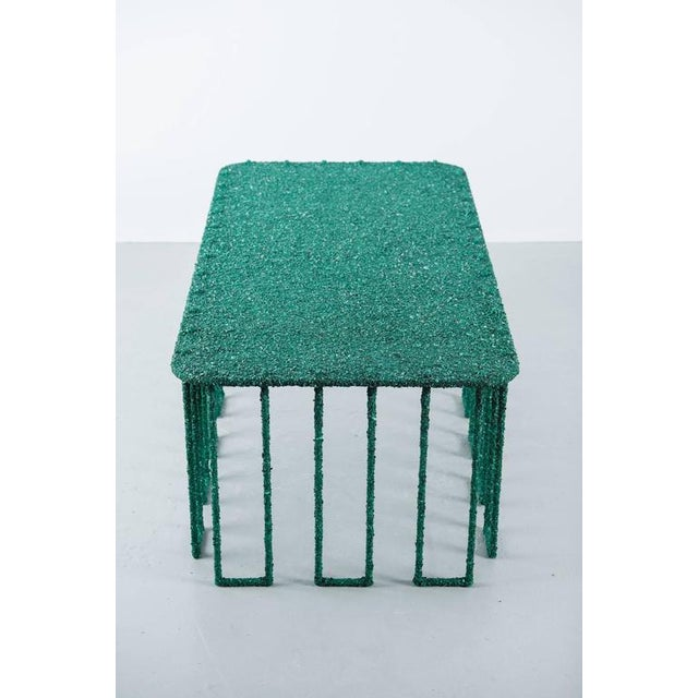 Green Hand Made Coffee Table of Crushed Malachite of the Congo, by Samuel Amoia For Sale - Image 8 of 10
