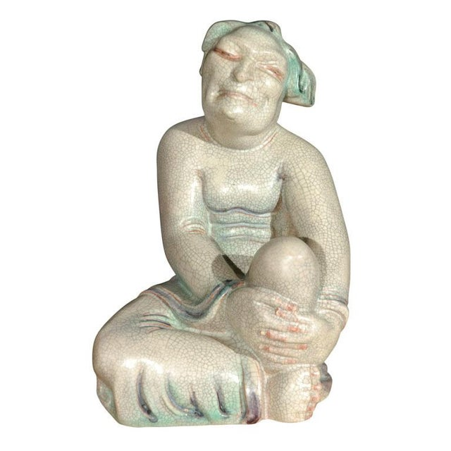 White Large Crackle Glazed Luohan Figure For Sale - Image 8 of 8
