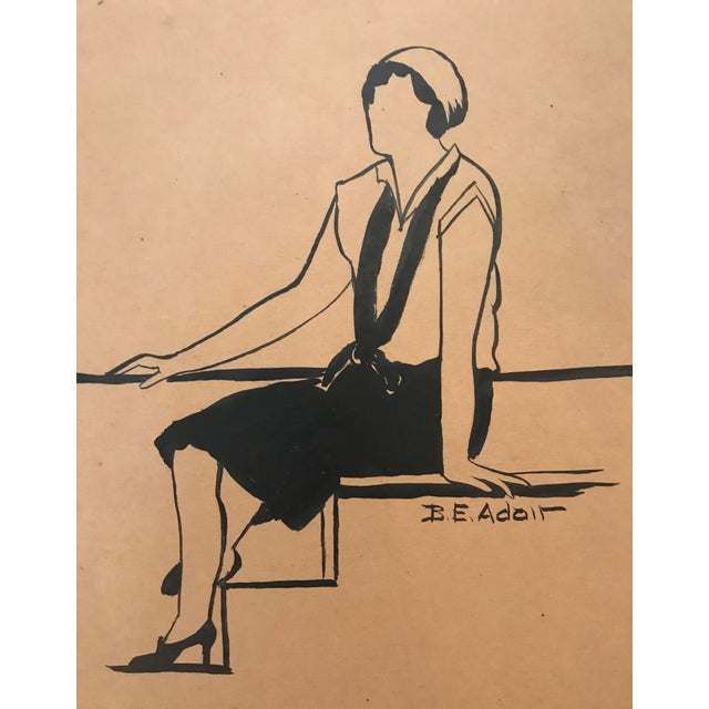 Art Deco 1930s Fashion Design Drawing by Beryl Adair Trezise For Sale - Image 3 of 3