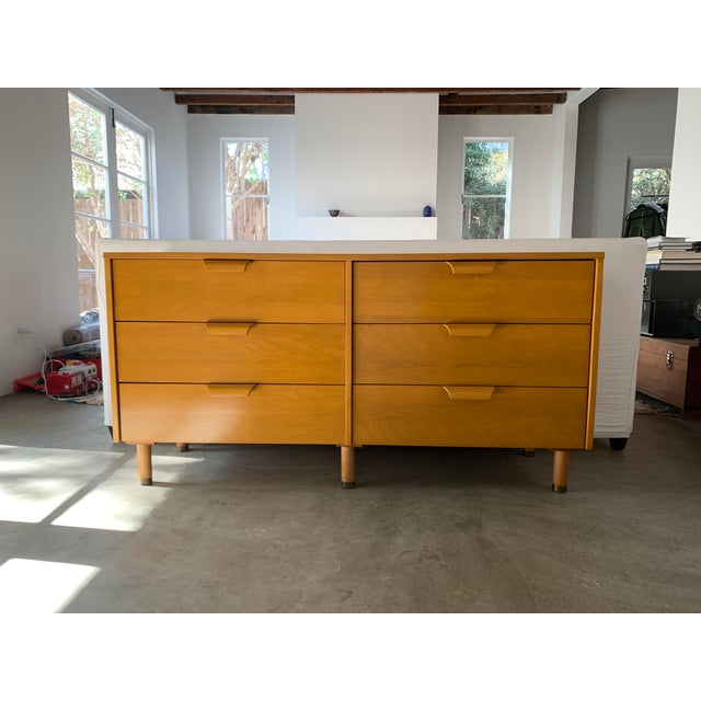 This is a very sturdy, beautiful, 6-drawer mid century dresser. Very unique color and style reminiscent of Bauhaus. It was...