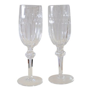 Vintage Curraghmore Waterford Crystal Fluted Champagne Glasses - a Pair For Sale