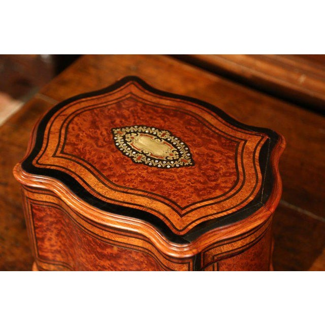 Gold Important 19th Century French Napoleon III Walnut & Burl Cave a Liqueur Tantalus For Sale - Image 8 of 11