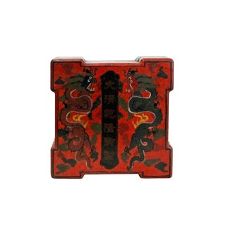 Chinese Distressed Red Lacquer Color Square Painting Box For Sale