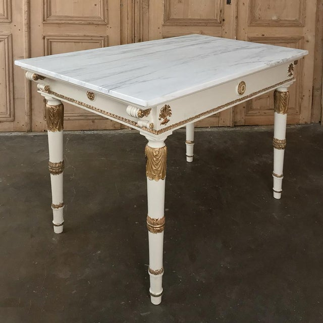 White 19th Century Italian Neoclassical Painted and Gilded Marble Top Center Table ~ Console For Sale - Image 8 of 12