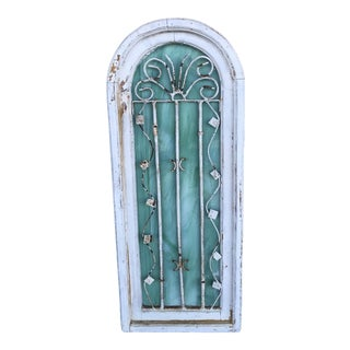 Antique Wood Window Pane With Metal and Teal Quarts Back For Sale