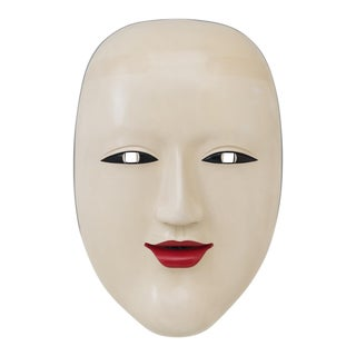 Monumental Decorative 1970s Japanese Noh Mask For Sale